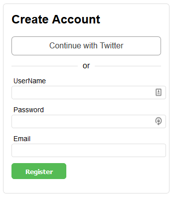 """Continue with Twitter"" on Register Form"