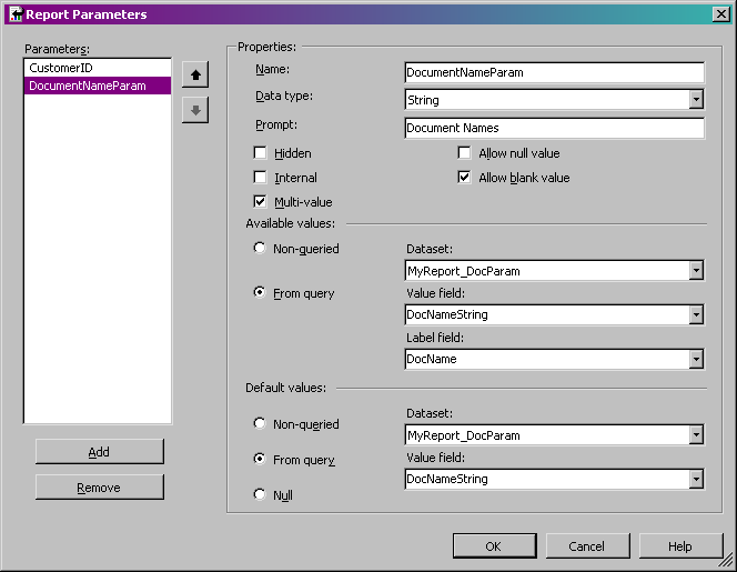 Add, Change, or Delete a Report Parameter (Report Builder and SSRS)